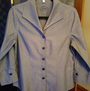 Foxcroft Gray Non-Iron 3/4 Sleeve Size 6 EUC!